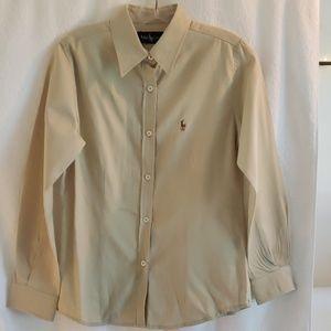 RALPH LAUREN WOMEN'S DRESS SHIRT / MED. * Khaki *
